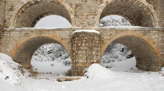 le pont de Bourdiguet sous la neige